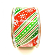 Jo-ann's Holiday Snowflake Ribbon,red/green Stripes,glitter Accents,3.8cm x 12ft.