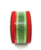 Jo-ann's Holiday Red/green Stripe Ribbon,red Velvet/green Glitter Mesh,3.8cm x 12ft.