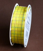 Great Buy Craft SPOOL of FABRIC RIBBON TRIM 10 FEET Long x 2.5cm Wide YELLOW 'cheque' Pattern w IRIDESCENT THREADS