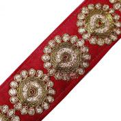 Braid Work Trim Metallic Red Lace Tape Craft Traditional Floral er Dress 1 Yard