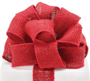 #16 Red Burlap Wired Ribbon