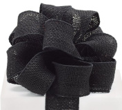 #16 Black Burlap Wired Ribbon