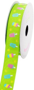 LUV Ribbons Grosgrain Popsicle Print Ribbon, 2.2cm , Apple Green