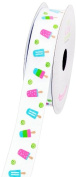 LUV Ribbons Grosgrain Popsicle Print Ribbon, 2.2cm , White