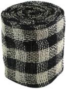 Kel-Toy Checker Jute Burlap Roll, 15cm by 10-Yard, Black/Cream