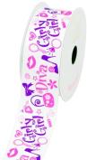 LUV Ribbons Grosgrain Diva Girly Print Ribbon, 3.8cm , White
