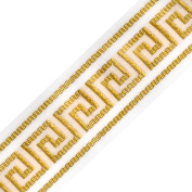 Venus Ribbon 3.8cm Metallic Greek Key Jacquard, 5 Yards, White/Gold
