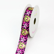 LUV Ribbons Satin Aloha Leopard Print Ribbon, 2.2cm , Hot Pink