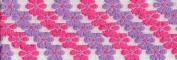 Venus Ribbon 0.6cm Flower Power Jacquard, 5 Yards, White/Dark Pink/Purple