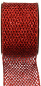 Kel-Toy Metallic Glitter Mesh Net Ribbon, 6.4cm by 10-Yard, Red