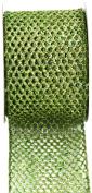 Kel-Toy Metallic Glitter Mesh Net Ribbon, 6.4cm by 10-Yard, Apple Green