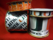 Offray Printed Craft Ribbon Pack, 12-Yard, University of Miami Hurricanes