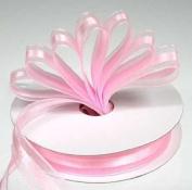 3 Spools - 1.6cm Pink Sheer Chiffon and Satin Ribbon - 75 Yards Total