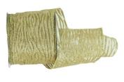 Renaissance 2000 Ribbon, 6.4cm , Gold Vertical Curl Lines