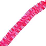 Venus Ribbon 1.6cm Stretch Ruffled Top/Bottom Organza Trim, 5-Yard, Hot Pink