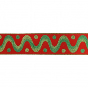 Vickerman 78060cm - 6.4cm x 10yd Red / Green Swirl Dot Ribbon
