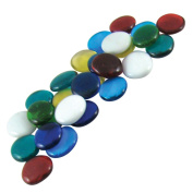 Jennifer's Mosaics Colour Variety 3.2cm Large Glass Gems, Assorted Colours, 1-Pound