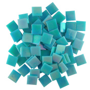 Jennifer's Mosaics 1.9cm Iridized Venetian Style Glass Mosaic Tile, Teal, 240ml