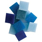 Jennifer's Mosaics 240ml Denim Mix 1.9cm Venetian Style Glass Mosaic Tile, Assorted Colours