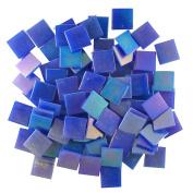 Jennifer's Mosaics 1.9cm Iridized Venetian Style Glass Mosaic Tile, Dark Blue, 240ml
