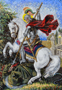 Gorgeous Scene of Saint Georges Icon Mosaic Marble Hand Made