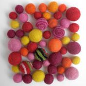 Wool Felt Pom Poms- 50 Warm Tones