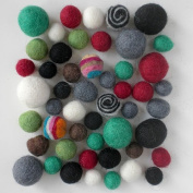 Wool Felt Pom Poms- 50 Neutral Tones