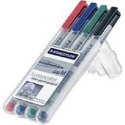 Staedtler Lumocolor Non-Permanent Overhead Projection Markers assorted colours medium 1.0 mm set of 4