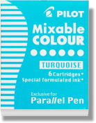 Pilot Parallel Pen Ink Refills for Calligraphy Pens, Turquoise, 6 Cartridges per Pack