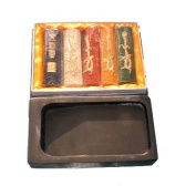 Chinese Calligraphy Ink Grinding Stone and 5pc Ink Stick Set