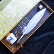 28cm White Colour Antique Feather Quill Dip Pen LL-18