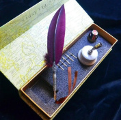 Magenta Feather Writing Quill Pen With Pen Holder and Stainless Steel Nib Set LL-38