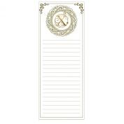 Grasslands Road Cucina Monogram Metallic Gold Letter Initial X Magnetic Memo Pad