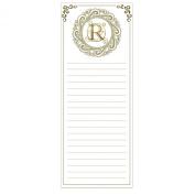 Grasslands Road Cucina Monogram Metallic Gold Letter Initial R Magnetic Memo Pad
