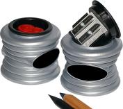 Kum 103.70.31 DesignM2 Magnesium Alloy 2-Hole Inner Pencil Sharpener, Colours Vary