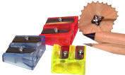 Kum 301.02.21 2-Hole Steel Blade Rectangular Pencil Sharpeners without Waste Container, Colours Vary