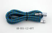 6'FT Braided Airbrush Air Hose 0.3cm - 0.3cm (0.6cm ) Adaptor fitting