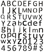 Airbrush Tattoo Stencil Set 40 Upper-Lower Calibri Letters #s
