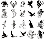 Airbrush Tattoo Stencil Set 52 Book of 20 Bird Templates