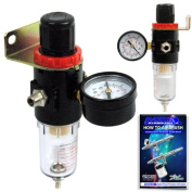 Airbrush Depot® Brand Airbrush Compressor AIR Regulator with Water-trap filter , Now Included Is a (Free) How to Airbrush Training Book to Get You Started.