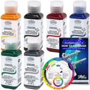 TESTORS - AZTEK Premium Transparent Acrylic Airbrush Paint 6-Colour Set with FREE Colour Wheel & How to Airbrush Manual