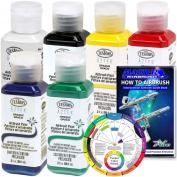 TESTORS - AZTEK Premium OPAQUE Acrylic Airbrush Paint 6-Colour Set with FREE Colour Wheel & How to Airbrush Manual