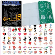 Master Airbrush® Brand Airbrush Tattoo Stencils Set Book #18 Reuseable Tattoo Template Set, Book Contains 100 Unique Stencil Designs, All Patterns Come on High Quality Vinyl Sheets with a Self Adhesive Backing.