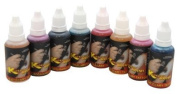 8 colour AIRBRUSH TEMPORARY TATTOO INK KIT Red, Blue, Black, Hot Pink, Green, Purple, Orange, and White