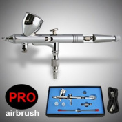 Pro Dual Action Airbrush Kit Gravity Feed Set with 3 Tips, 0.2mm 0.3mm 0.5mm