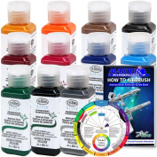 TESTORS - AZTEK Premium Transparent Acrylic Airbrush Paint 11-Colour Set with FREE Colour Wheel & How to Airbrush Manual