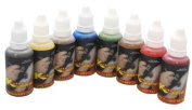 8 Colour Pearlescent Temporary Tattoo Airbrush Paint Kit in 30ml Bottles