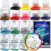 TESTORS - AZTEK Premium OPAQUE Acrylic Airbrush Paint 13-Colour Set with FREE Colour Wheel & How to Airbrush Manual