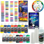 Createx Super Starter Kit - 16 Colours Includes Opaques, Transparents, Pearlescents and Airbrush Cleaner -And Now Includes (Free) Pack of 100 - 30ml Paint Mixing Cups & Our Free How-to Airbrush Book to Help Get You Started, Published Exclusively By T ..