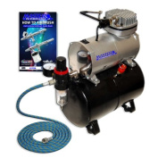 NEW Quiet 1/5 hp MASTER AIRBRUSH TANK COMPRESSOR-(FREE) AIR HOSE and Now a (FREE) How to Airbrush Training Book to Get You Started, Published Exclusively By TCP Global.